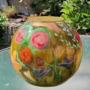 Exclusieve vaas handbeschilderd met boeket
